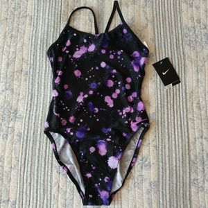 NWT Nike cut out tank swimsuit purple size 30/4